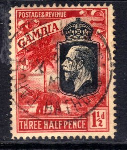 Gambia 1922 -29 KGV 1 1/2d Bright Rose Scarlet Used SG 125 ( L1409 )