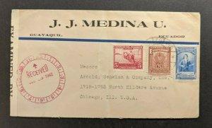 1942 Guayaquil Ecuador Censored Cover to Chicago Illinois USA