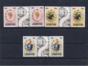 LESOTHO 1981 ROYAL WEDDING GUTTER PAIRS