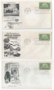 987 American Bankers 3 First Day Cover Cachets Art Craft Fleetwood Artmaster FDC