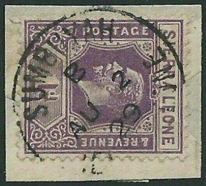 SIERRA LEONE 1920 GV 1d on piece - SUMBUYA cds.............................45839