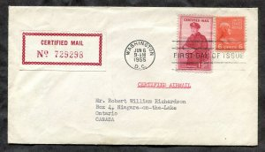 p282- US #FA1 + 6c Prexie on Certified Mail FDC Airmail Cover to CANADA Unsealed