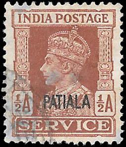 INDIA PATIALA  SC# O64  -  USED - NICE ALBUM SPACE FILLER