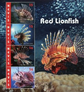 Nevis 2019 MNH Red Lionfish 4v M/S Coral Fish Fishes Marine Stamps
