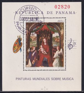 Panama 1968 Sc 488A Musical Harp Painting by Artist Memling Stamp SS CTO NH