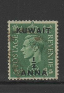 KUWAIT #72  1948  1/2a on 1/2p  KING GEORGE VI SURCHARGED   F-VF  USED
