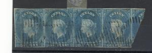 CEYLON 1857 - 1859 BLUE (#1)  or  DP TURQOISE (#3) IMPERF.Wmk 6 STRIP 4 1/2