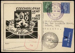 Great Britain Czech Legion in England Airmail Cover Canada Polni Posta Fel 82038