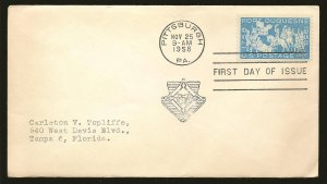 USA 1123 Fort Duquesne1958 First Day Cover Used