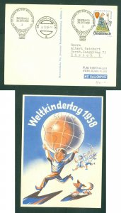 Austria. 1958 Card  Ballon Post. World Children's Day, Globe,. Sc.# 634 Choir.