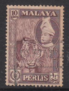 Malaya Perlis 1957 Sc 34a 10c maroon Used