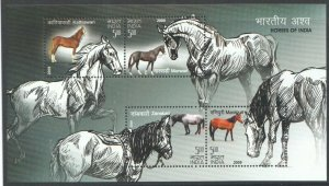 2009   INDIA  -  SG:  MS 2651 -  INDIGENOUS HORSES - UNMOUNTED MINT