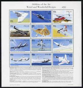 Palau 1996 Oddities of the Air sheetlet containing set of...