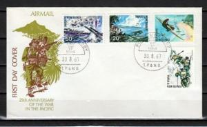 Papua New Guinea, Scott cat. 245-248. War in Pacific issue. First day cover.