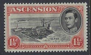 Ascension, Scott #42b;  1 1/2p King George VI, P13 1/2, MH