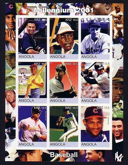 Angola, 2001 Cinderella issue. Baseball Stars on an IMPERF sheet of 9.