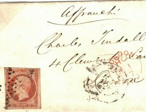FRANCE CLASSIC 40c *Napoleon* Petite Cover London 1857 {samwells-covers}B211