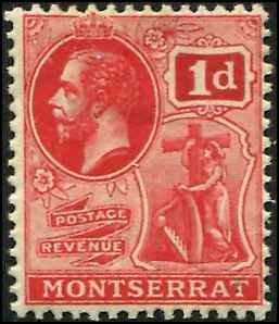Montserrat SC# 44 KGV 1d MH wmk 3