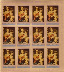 Equatorial Guinea 1972 MURILLO FAMOUS PAINTINGS Sheetlet (12v) IMPERFORATED MNH