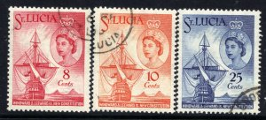 St Lucia 1960 QE2 Set of 3 New Constitution used SG 188 - 190 ( B141 )