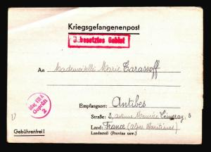 Germany 1941 POW Letter Cover to France / Corner Crease - Z14322