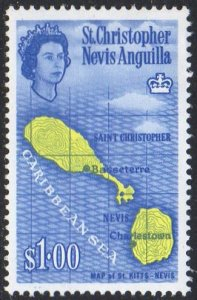 St Christopher, Nevis & Anguilla 1963 $1 Map of St Kitts  MH