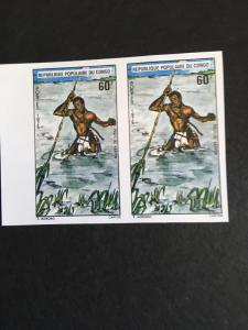 Congo Peoples Republic (#335) Imperf Marginal Pair 1975 60FR Spear Fishing VF-NH