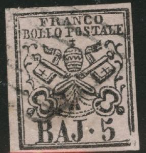 Roman or Papal States Scott 6 Used 1852 on Rose
