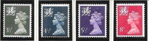 Great Britain-Wales & Monmouthshire # WMMH3,4,6 &10 (MNH&U) $1.10