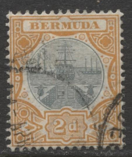 Bermuda - Scott 36 - Caravel - Wmk 3 -1906 - VFU -Single 2p Stamp