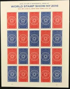 5010-5011  World Stamp Show NY 2016  MNH Forever sheet of 20    FV $11.00   2015