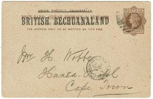 BECHUANALAND 1893 QV 1D POSTCARD TO CAPE TOWN