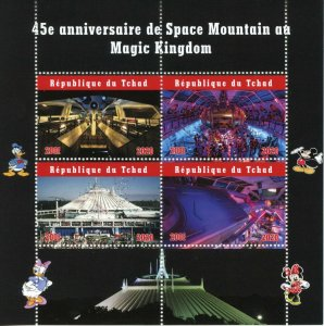 Chad Disney Stamps 2020 MNH Space Mountain Magic Kingdom 45th Anniv 4v M/S