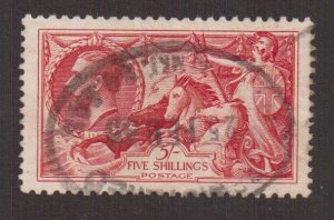 Great Britain   #180   used  1919    seahorse 1sh