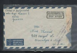 Cover Greece Civil War 1949 to U.S.A. Censored