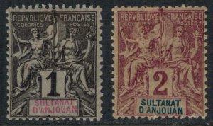 Anjouan #1-2  CV $4.50