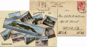 Gibraltar 1d KGV 1919 Gibraltar, 1 PPC (Souvenir of Gibraltar) to Salt Lake C...