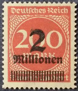 Scott 269b German Realm Inflation 1923 Rose #230 2M on 200 reichsmark Wtk Waffle