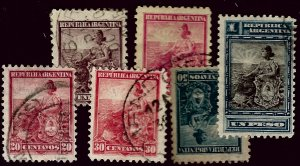 Argentina #134-139 Used F-VF most hr...Worth a Close Look!