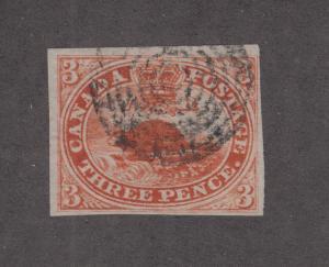 Canada Sc 4 used 1852 3c red Beaver, 4 margins VF