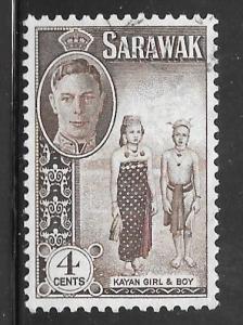 Sarawak 183: 4c Kayan girl and boy, used, F-VF