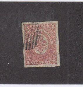 NEWFOUNDLAND (MK6804) # 20  VF-USED 6p 1861-2 ST JOHN'S IMPERF /ROSE CAT VAL $80