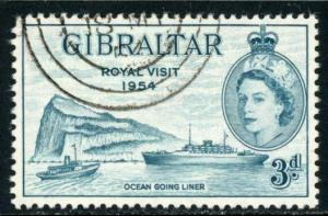 Gibraltar #146 3p Inscribed: ?ROYAL VISIT 1954? ~ (7342)