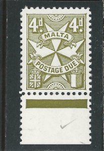 MALTA POSTAGE DUE 1967-70 4d YELLOW-OLIVE MNH SG D31 CAT £45