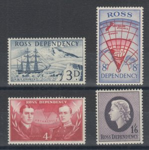 Ross Dependency Sc L1-L4 MLH. 1957 First issue, complete set, fresh, LH, F-VF.