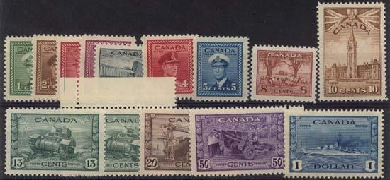 Canada - 1942-43 War Issue Complete mint #249-262