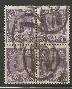 Canada #95 USED VF centering Block of 4 with *R* cancel -- No Faults