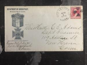 1891 New Hartford USA Official Cover Department Of Connecticut Woman's Relief Co