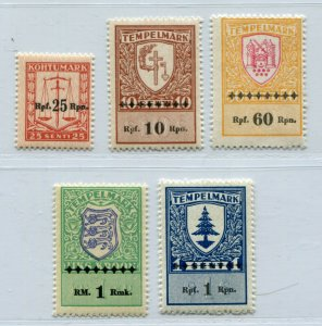 ESTONIA 3rd REICH GERMAN OCCUPATION LOVELY LOT OVPT REVENUE STAMPS PERFECT MNH