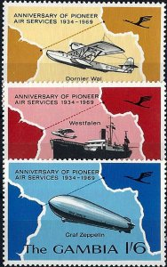 1969 Gambia Aviation, Planes, Ships, Zeppelin complete set VF/MNH!